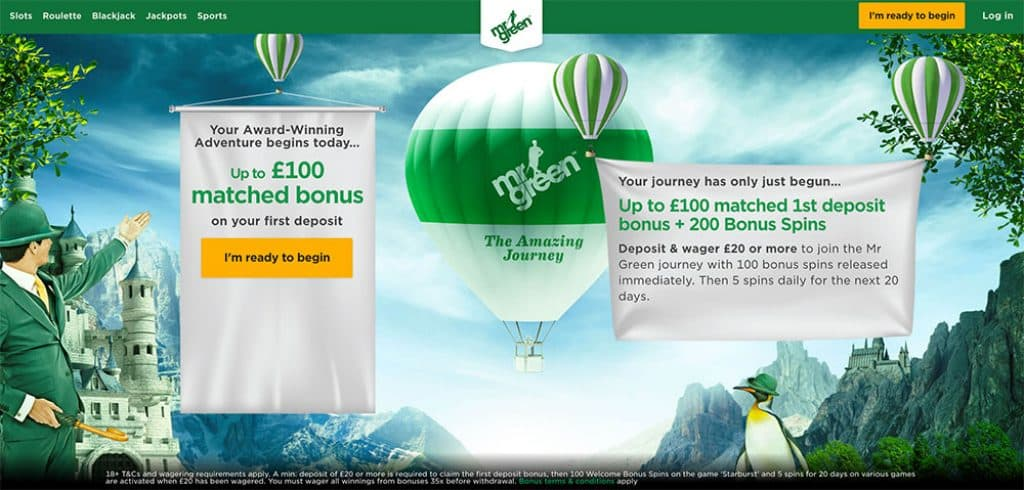 Mr Green Casino: £100 in Bonus Cash & 200 Free Spins