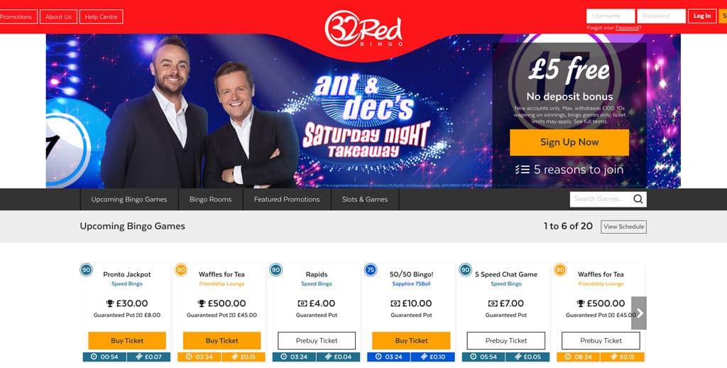 32Red Bingo: £5 FREE No Deposit Bonus