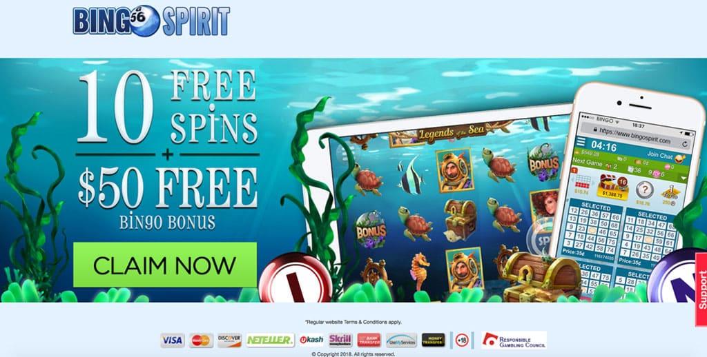 Bingo Spirit: Get $50 Free No Deposit Offer + 10 Free Spins.