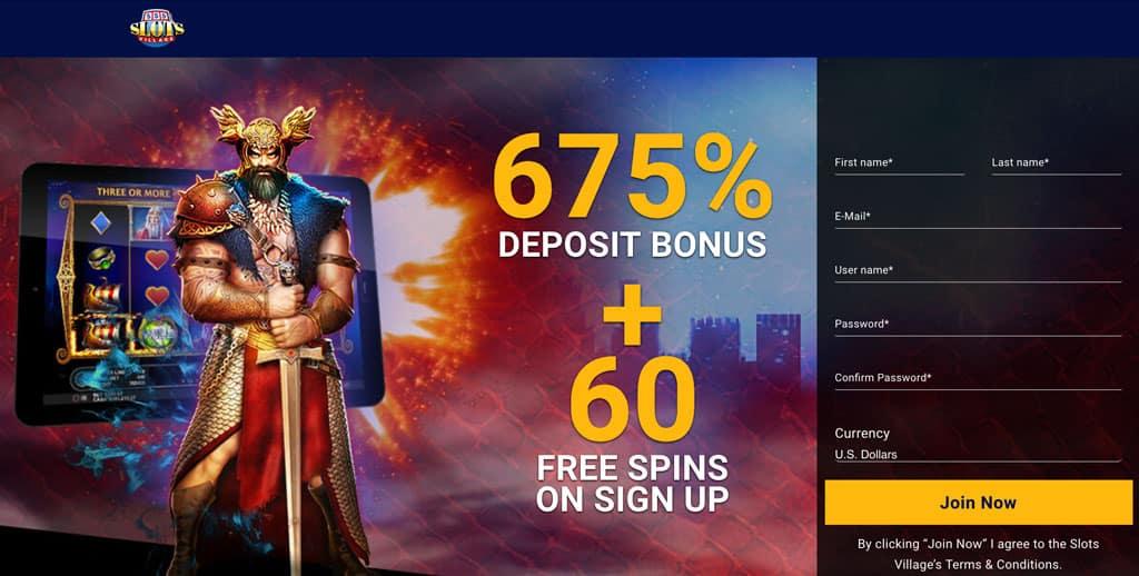 Slots Village: 675% Deposit Bonus + 60 Free Spins.