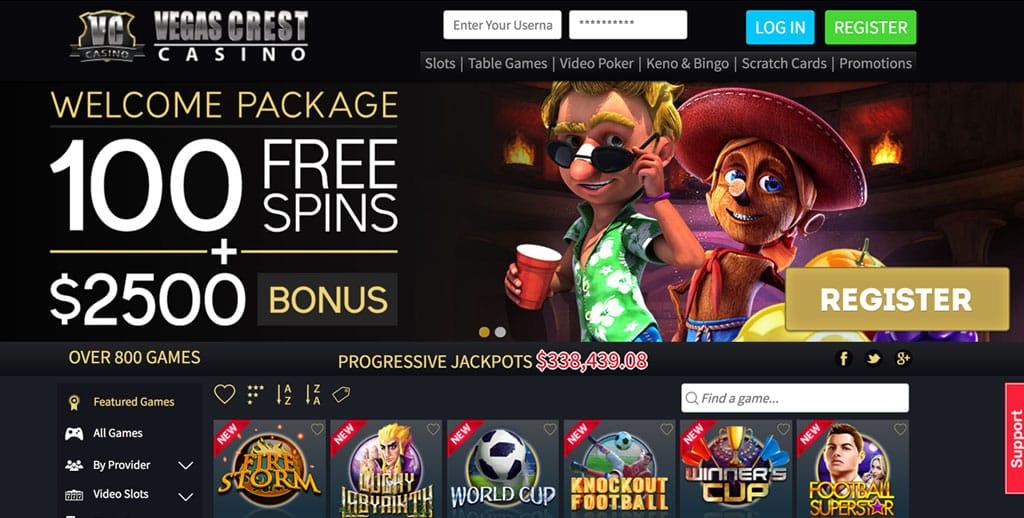 Vegas Crest Casino: 100 Free Spins + $/€2500 Bonus