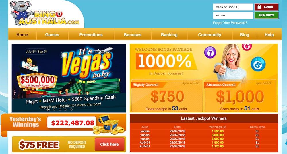 BingoAustralia: $75 Free New Player Bonus