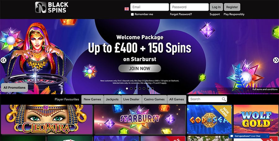 Black Spins Casino: Get Up To £400 and 150 Free Spins