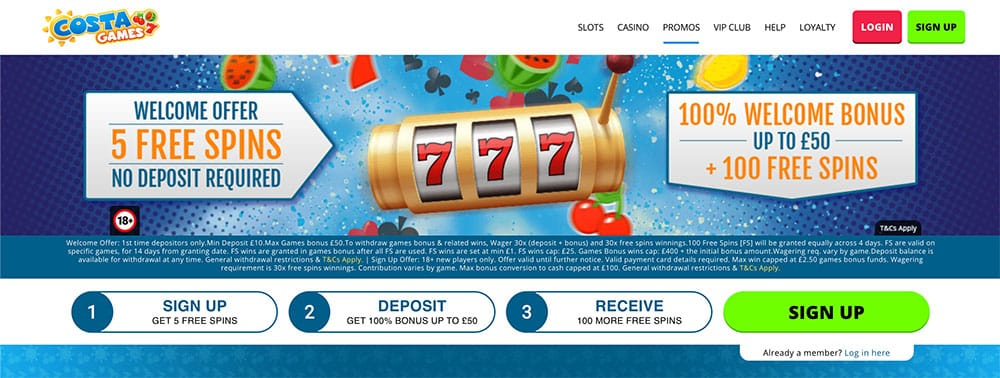 Costa Games No Deposit Bonus